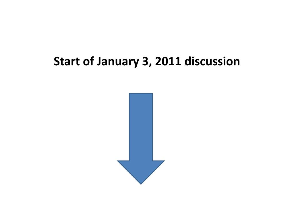 Start of January 3, 2011 discussion