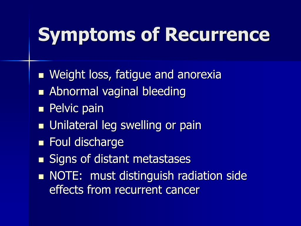 Symptoms of Recurrence