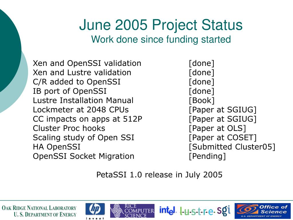 June 2005 Project Status