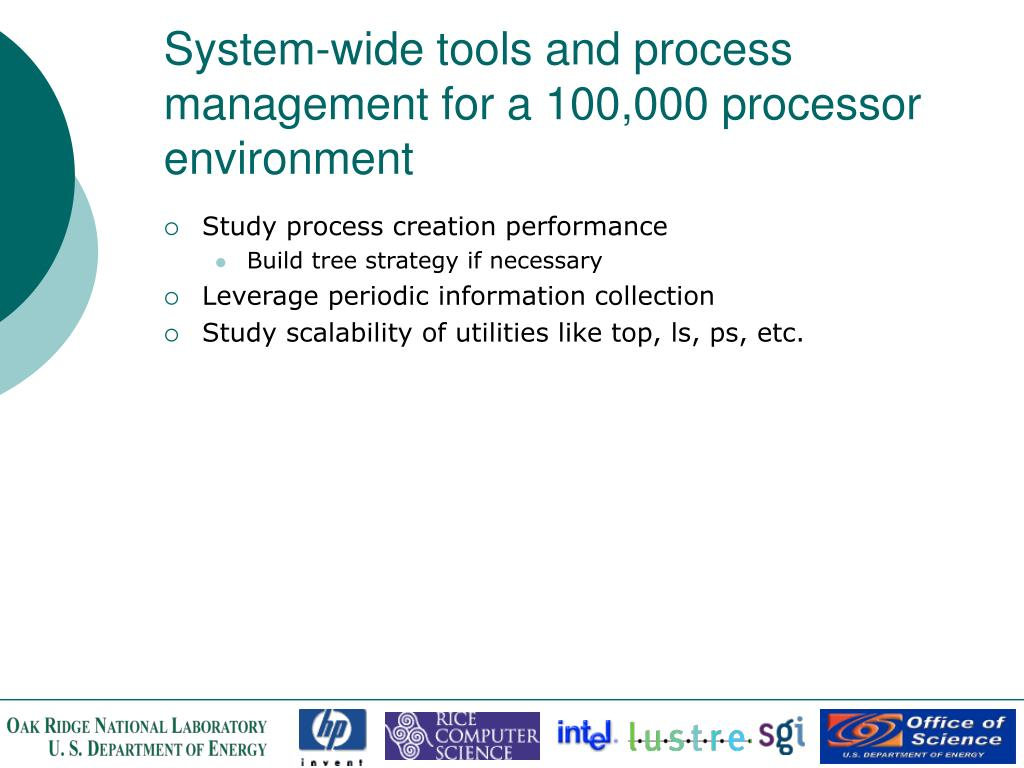 System-wide tools and process management for a 100,000 processor environment