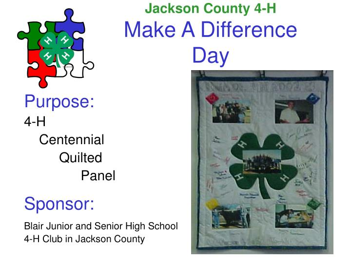 Jackson county 4 h make a difference day