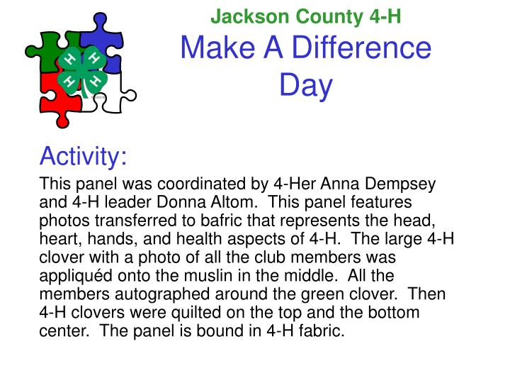 Jackson county 4 h make a difference day1