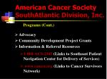 american cancer society southatlantic division inc