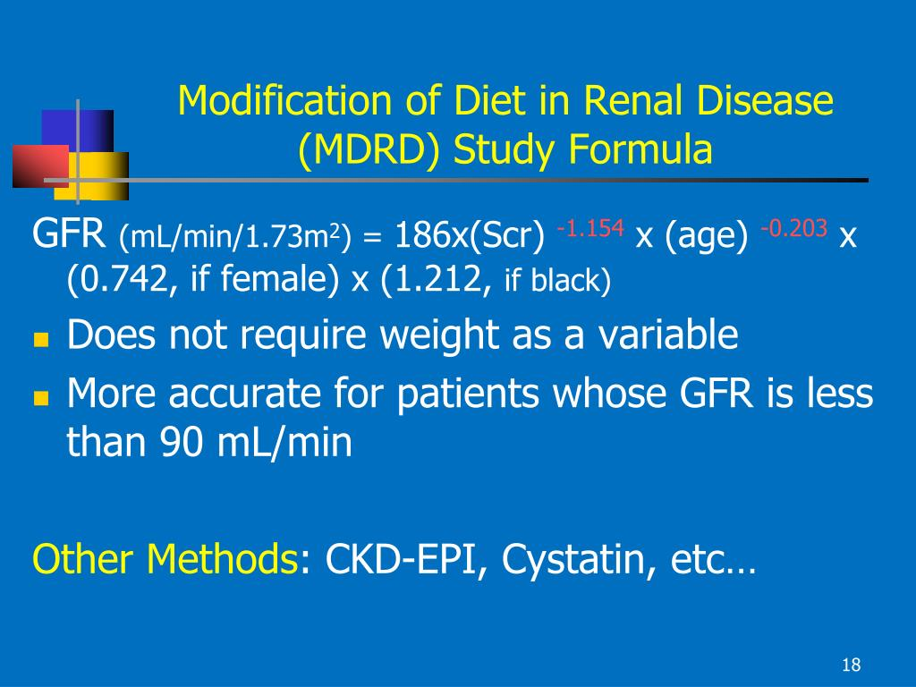 Modification of Diet in Renal Disease (MDRD) Study Formula