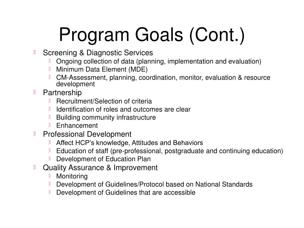 Program Goals (Cont.)