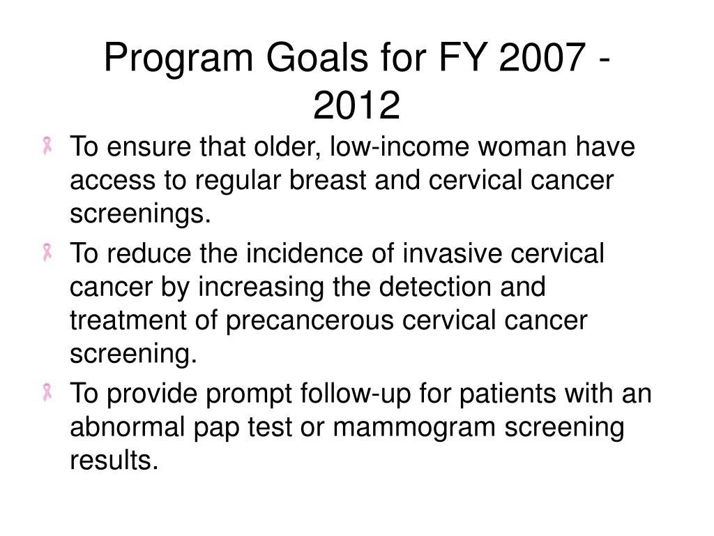 Program Goals for FY 2007 - 2012
