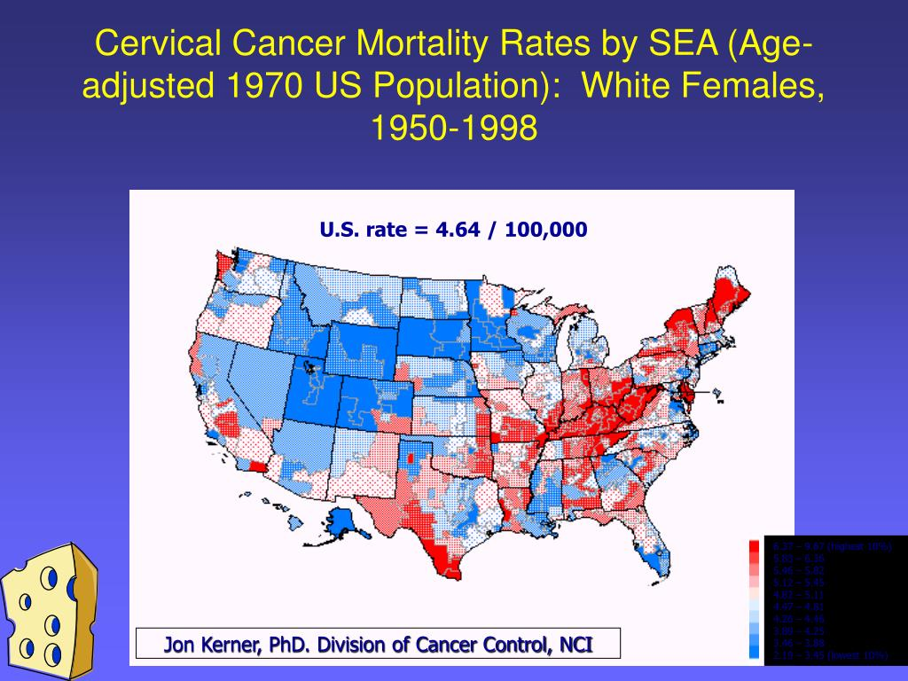 Cervical Cancer Mortality Rates by SEA (Age-adjusted 1970 US Population):  White Females, 1950-1998