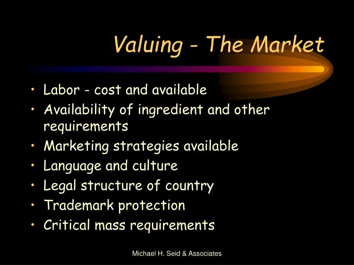 Valuing - The Market