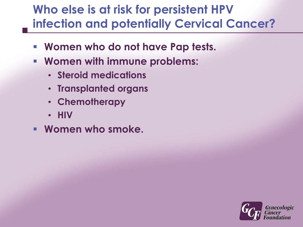 Who else is at risk for persistent HPV infection and potentially Cervical Cancer?