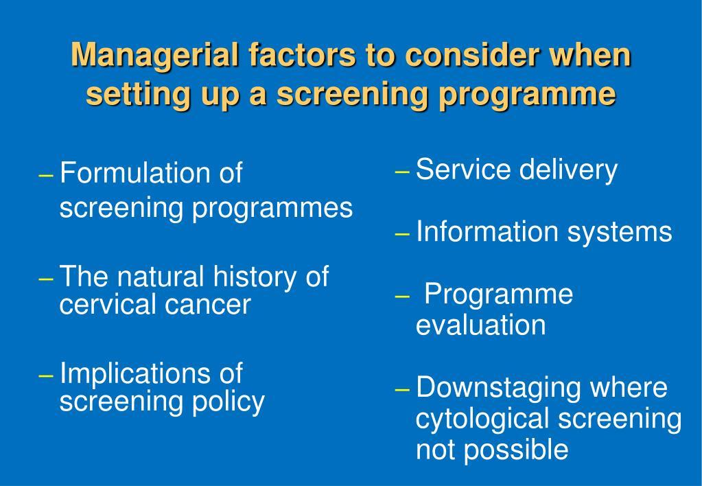 Formulation of screening programmes