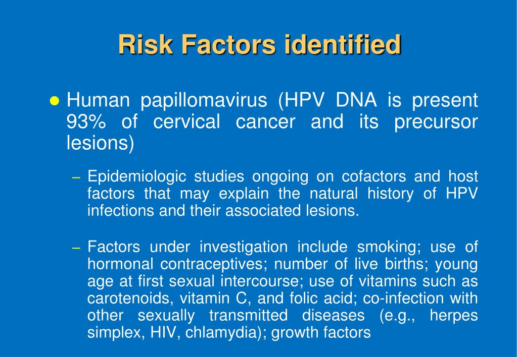 Risk Factors identified