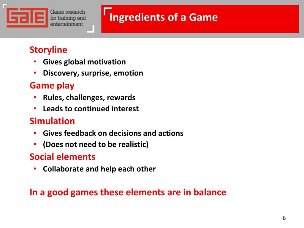 Ingredients of a Game