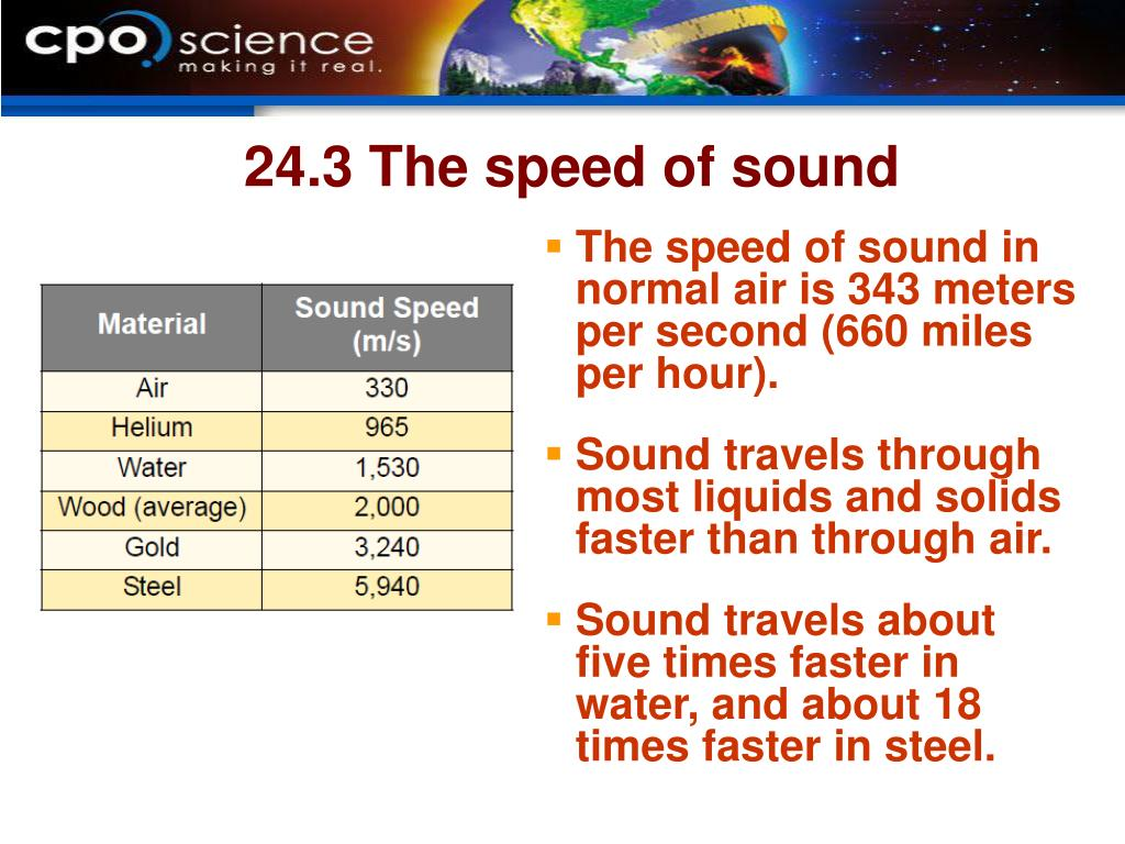 24.3 The speed of sound