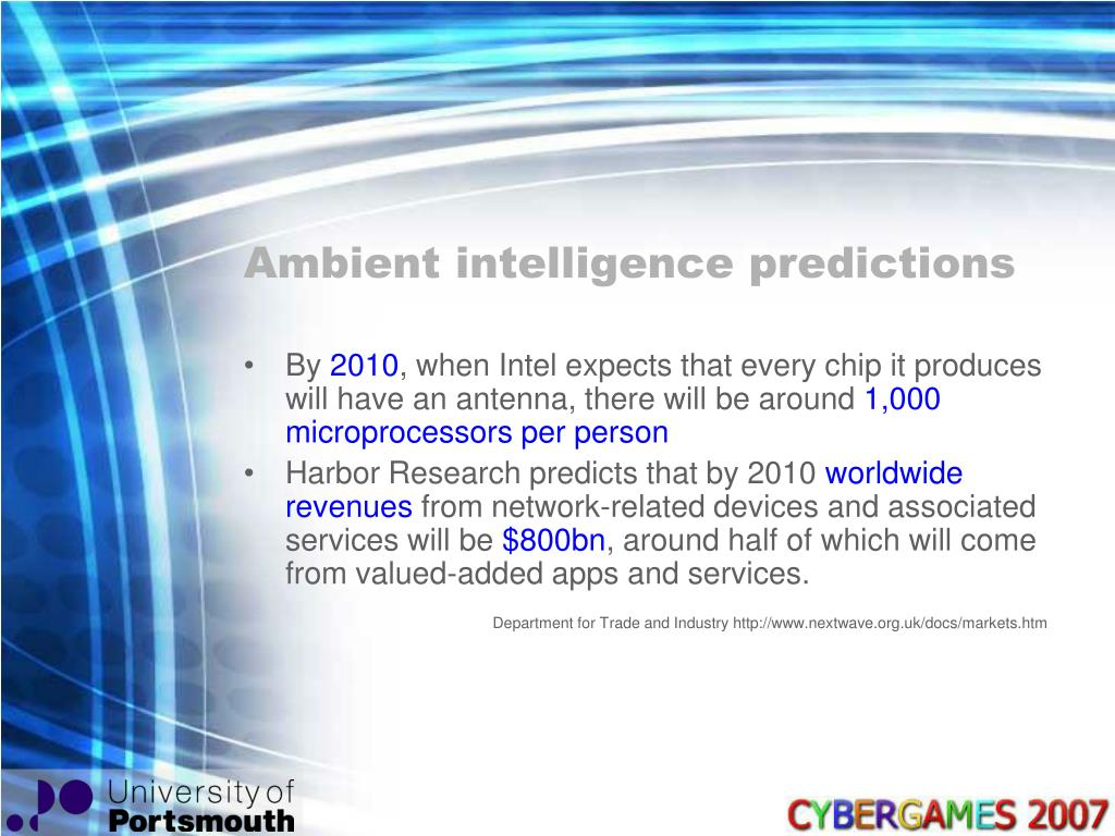 Ambient intelligence predictions