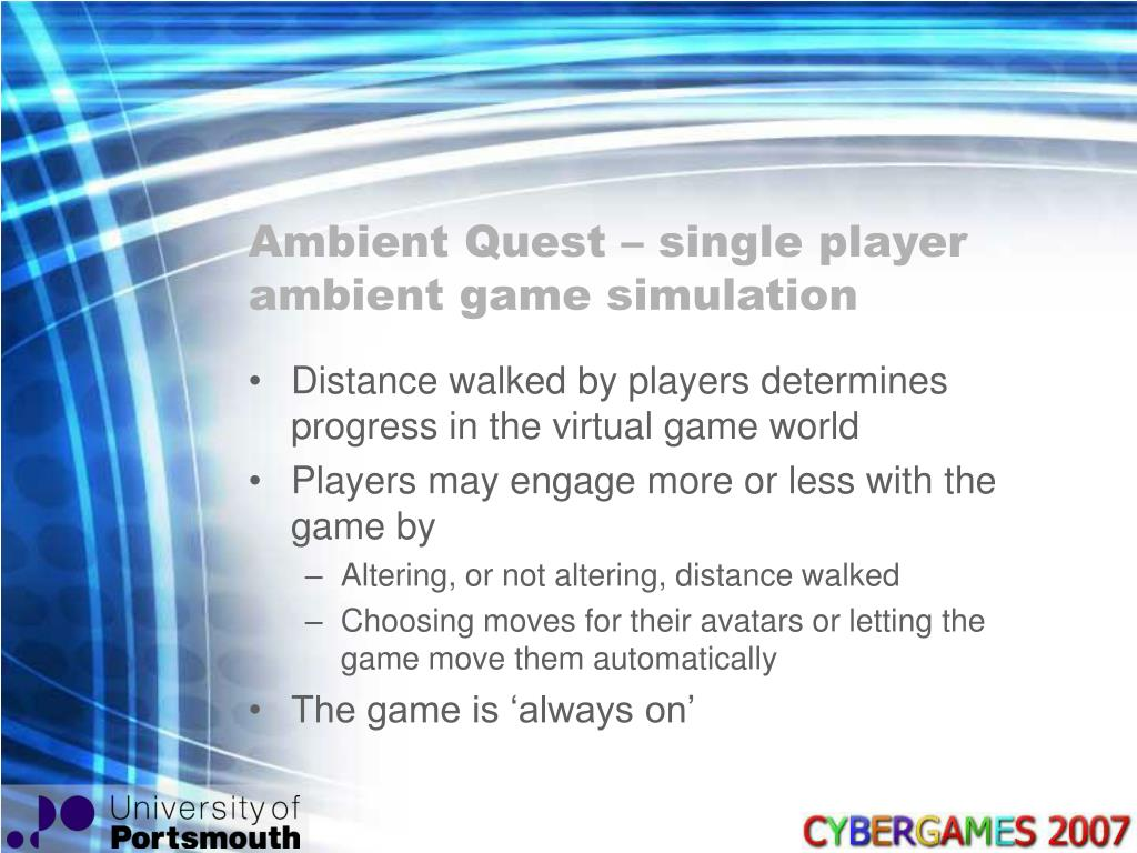 Ambient Quest – single player ambient game simulation