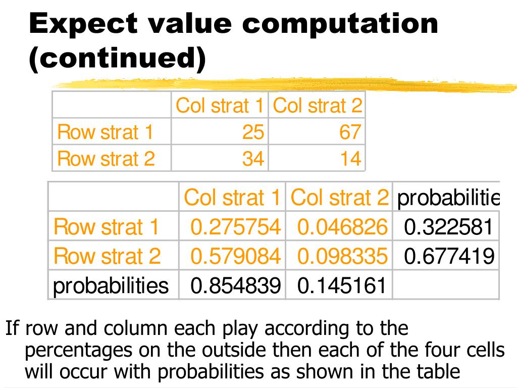 Expect value computation (continued)