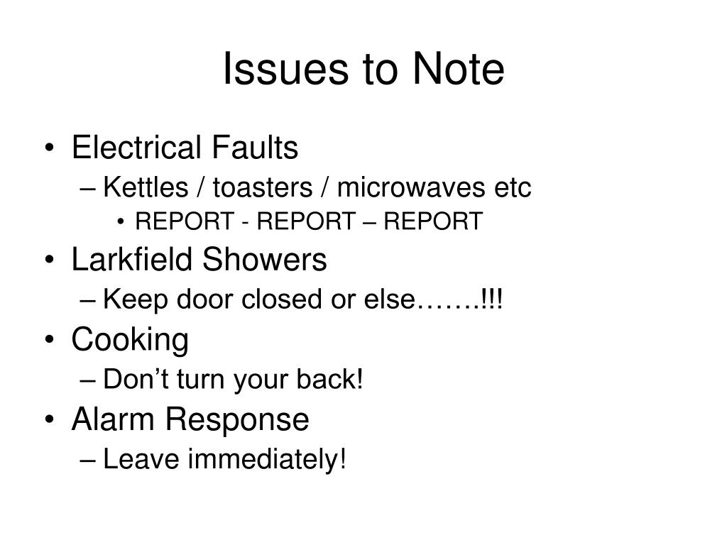 Issues to Note