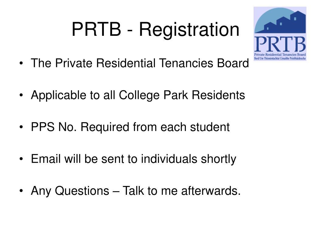 PRTB - Registration