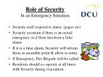 role of security in an emergency situation