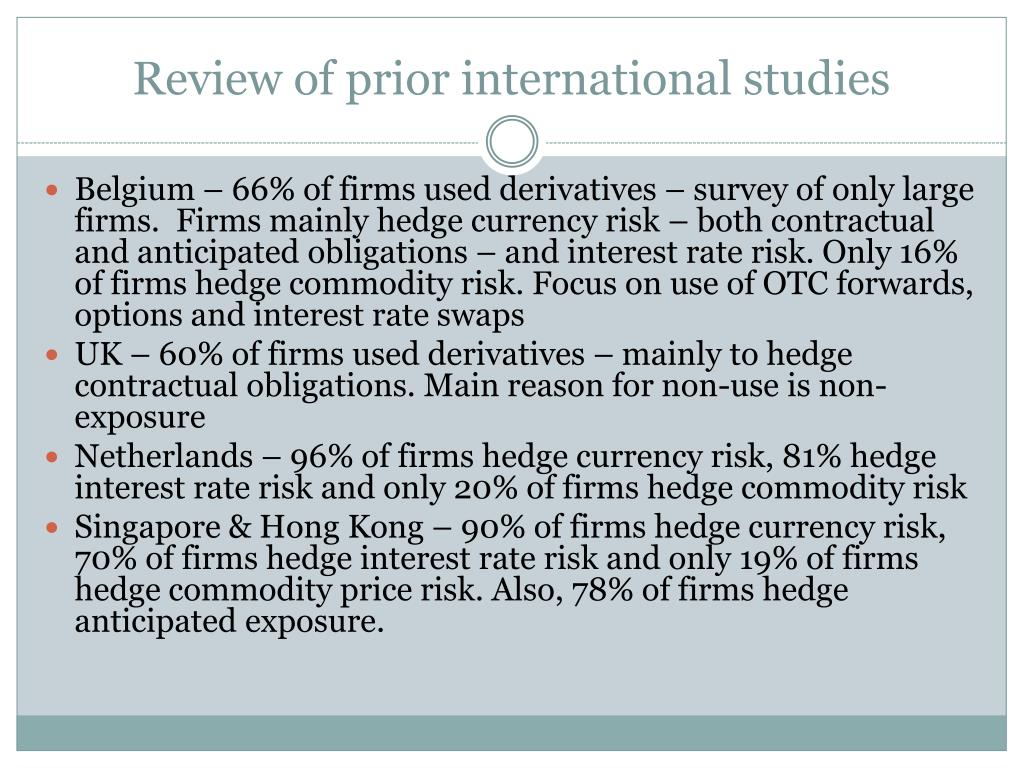 Review of prior international studies
