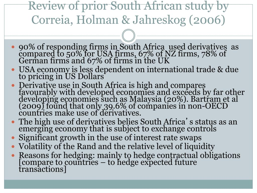 Review of prior South African study by Correia, Holman &