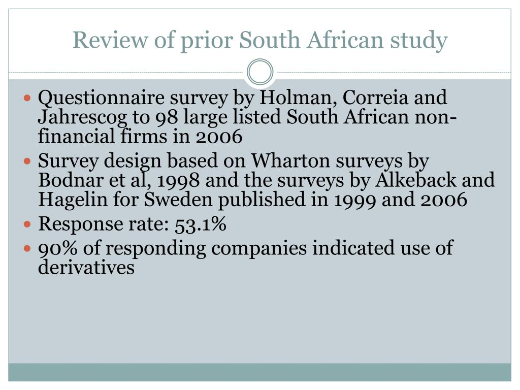Review of prior South African study