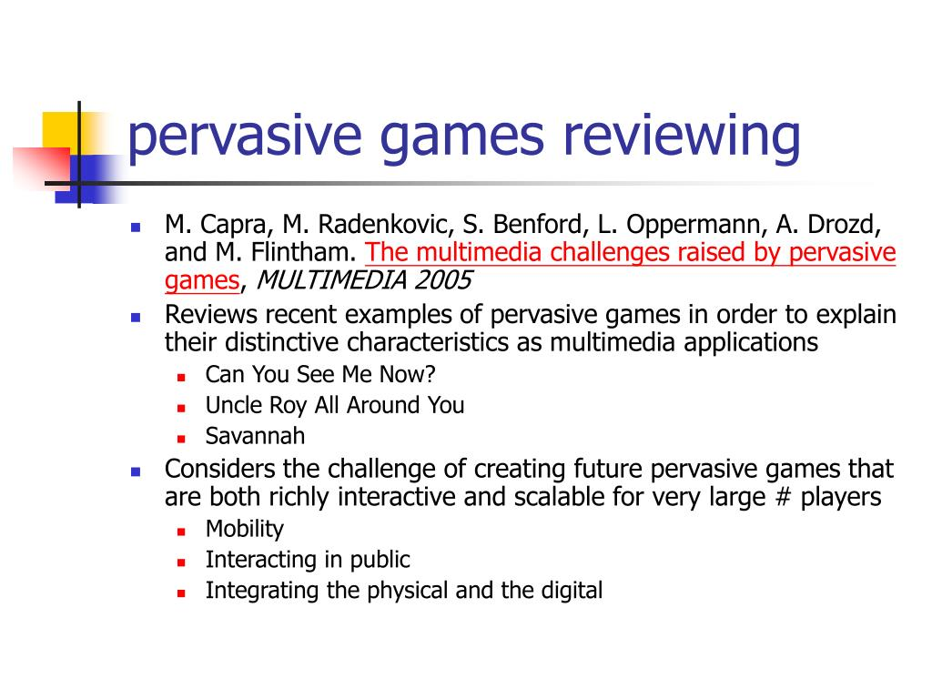 pervasive games reviewing