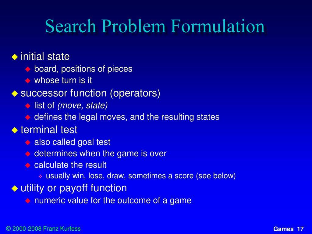 Search Problem Formulation