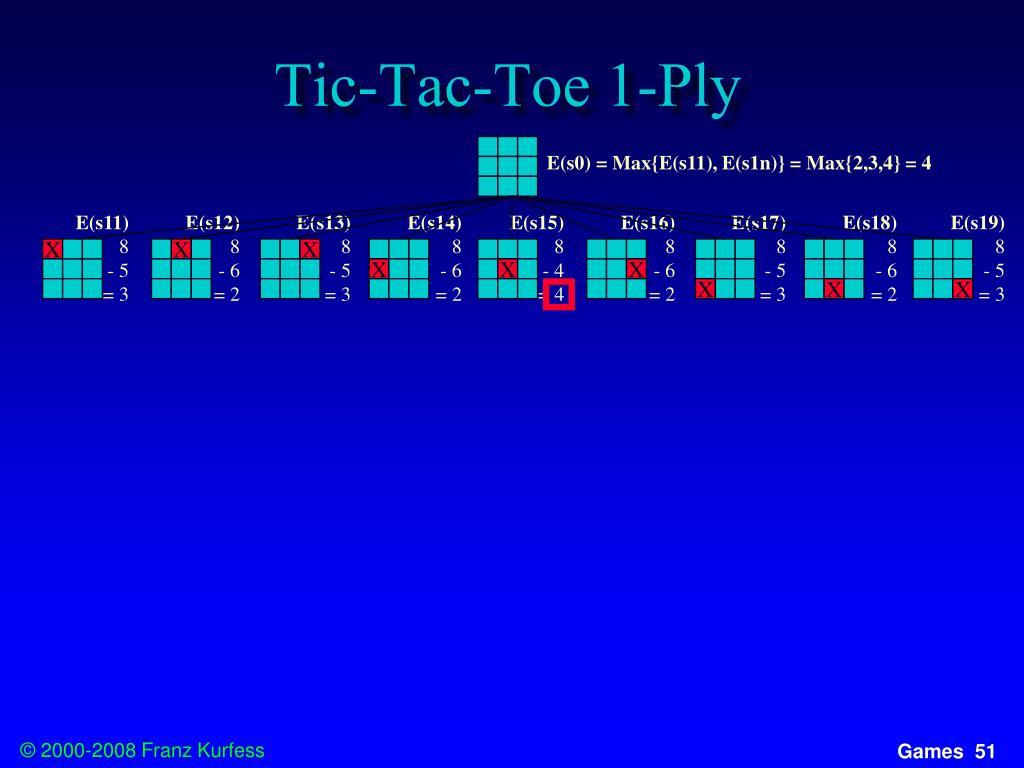 Tic-Tac-Toe 1-Ply