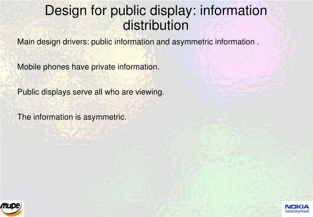 Design for public display: information distribution