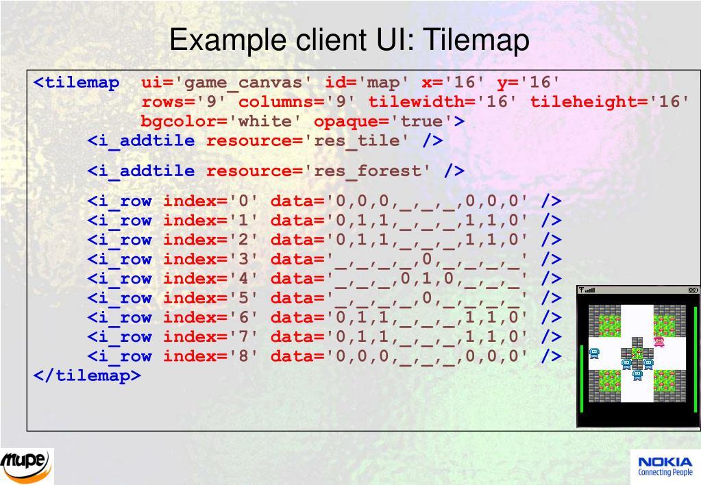 Example client UI: Tilemap