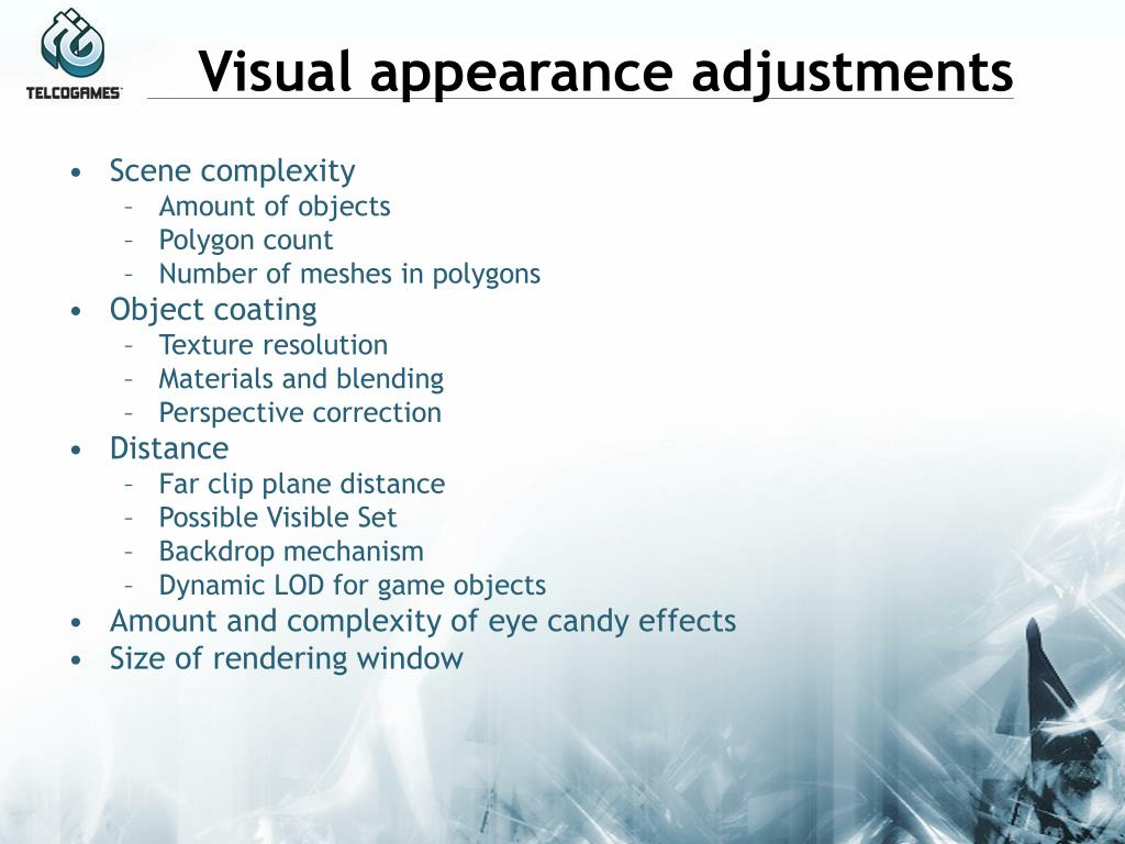 Visual appearance adjustments