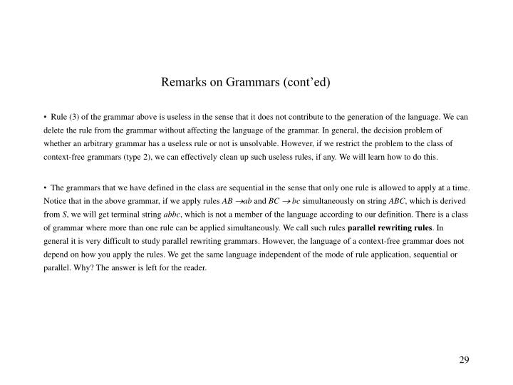 Remarks on Grammars (cont'ed)