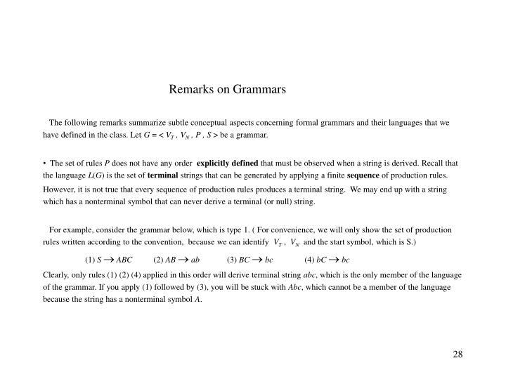 Remarks on Grammars