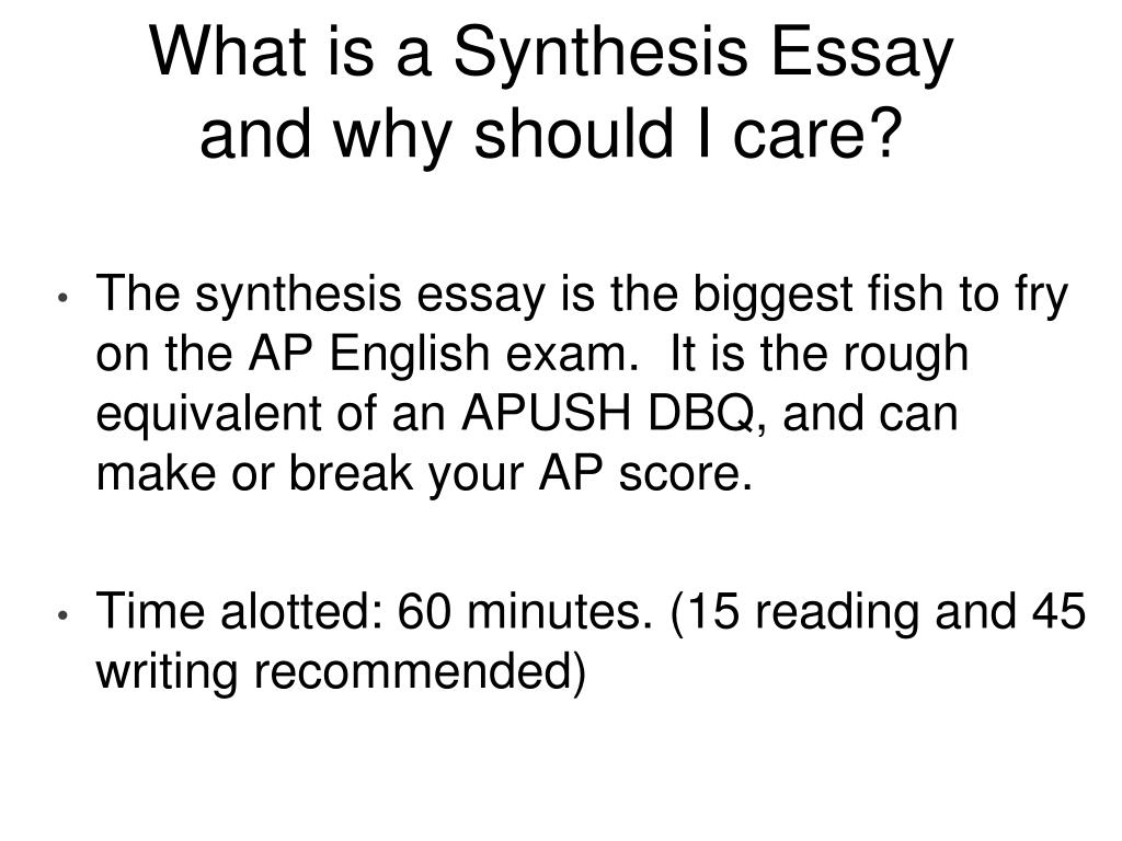 synthesis task essay Although at its most basic level a synthesis involves combining two or more summaries, synthesis writing is more difficult than it might at first appear because this combining must be done.