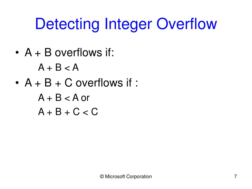 Detecting Integer Overflow
