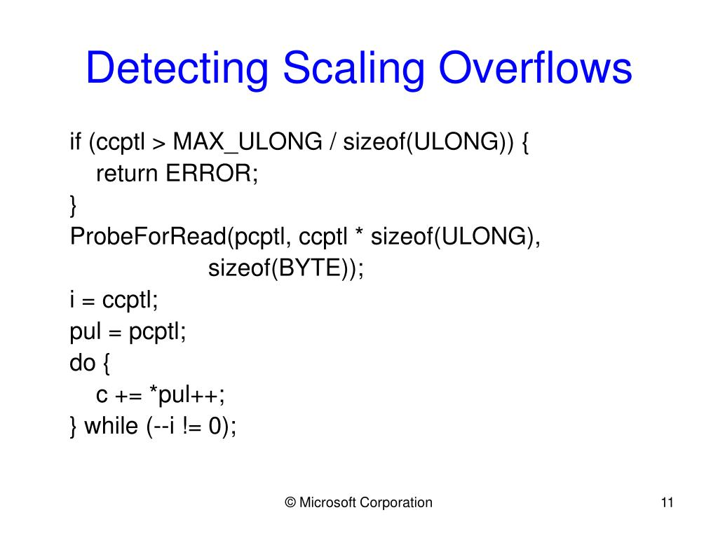 Detecting Scaling Overflows