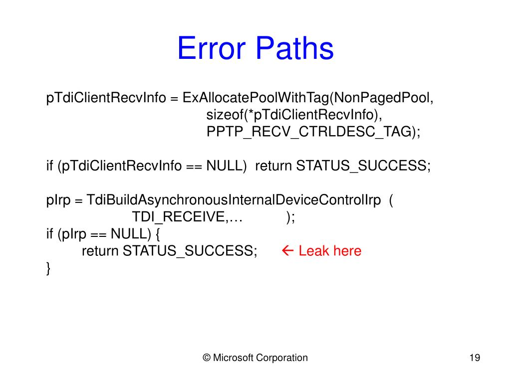 Error Paths