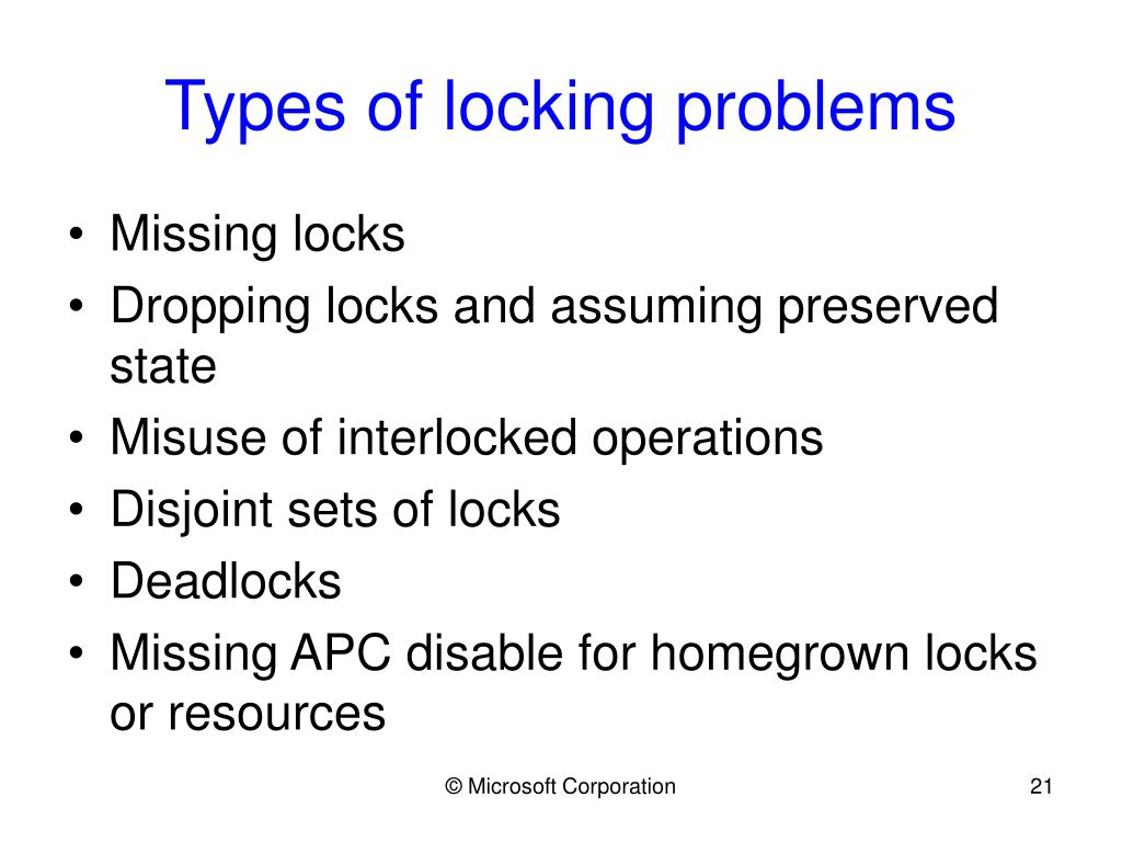 Types of locking problems