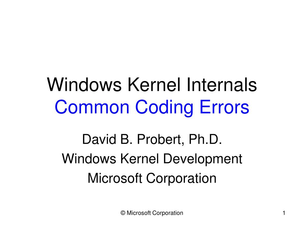 Windows Kernel Internals