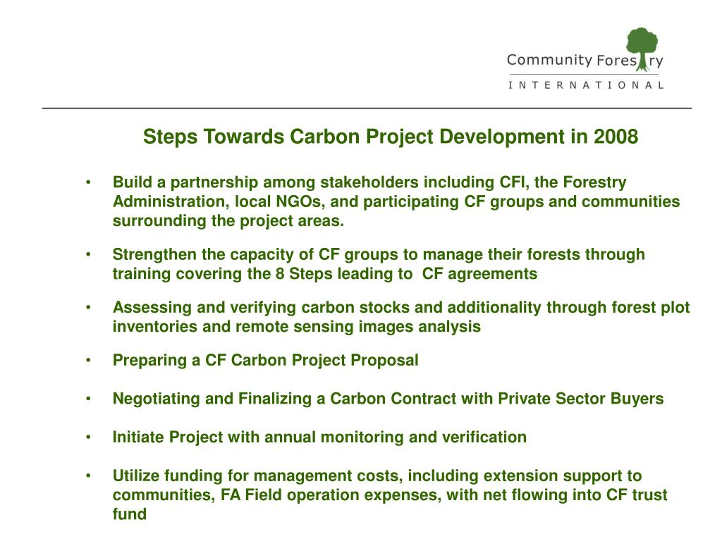 Steps Towards Carbon Project Development in 2008