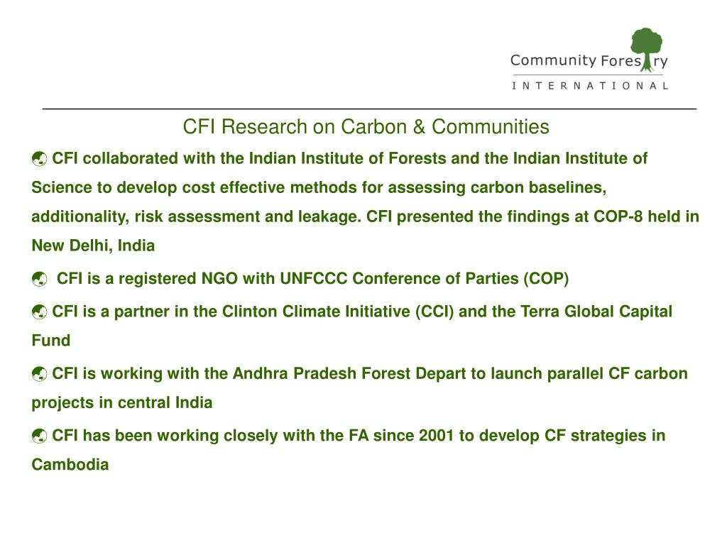 CFI Research on Carbon & Communities