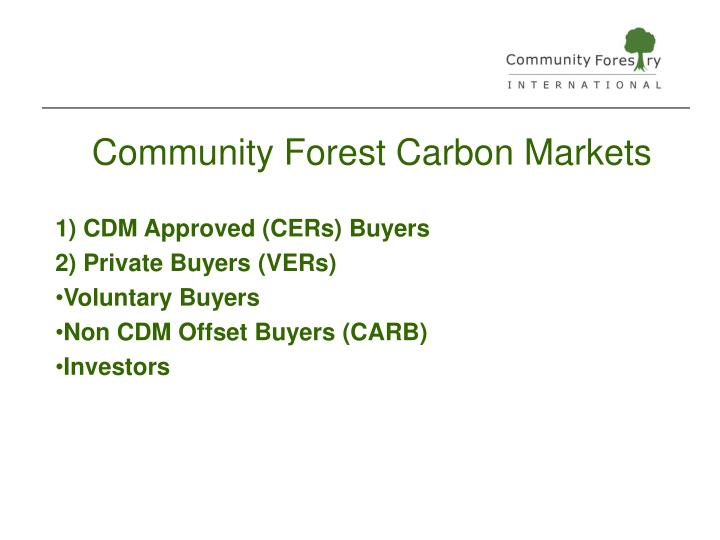 Community Forest Carbon Markets