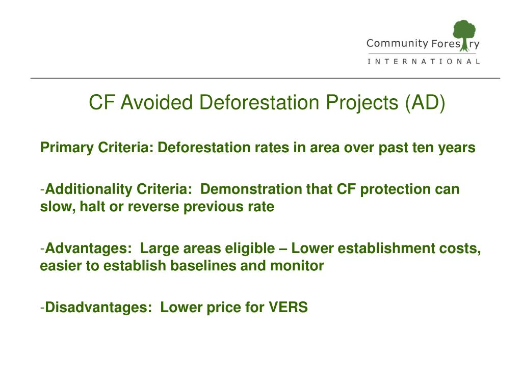 CF Avoided Deforestation Projects (AD)
