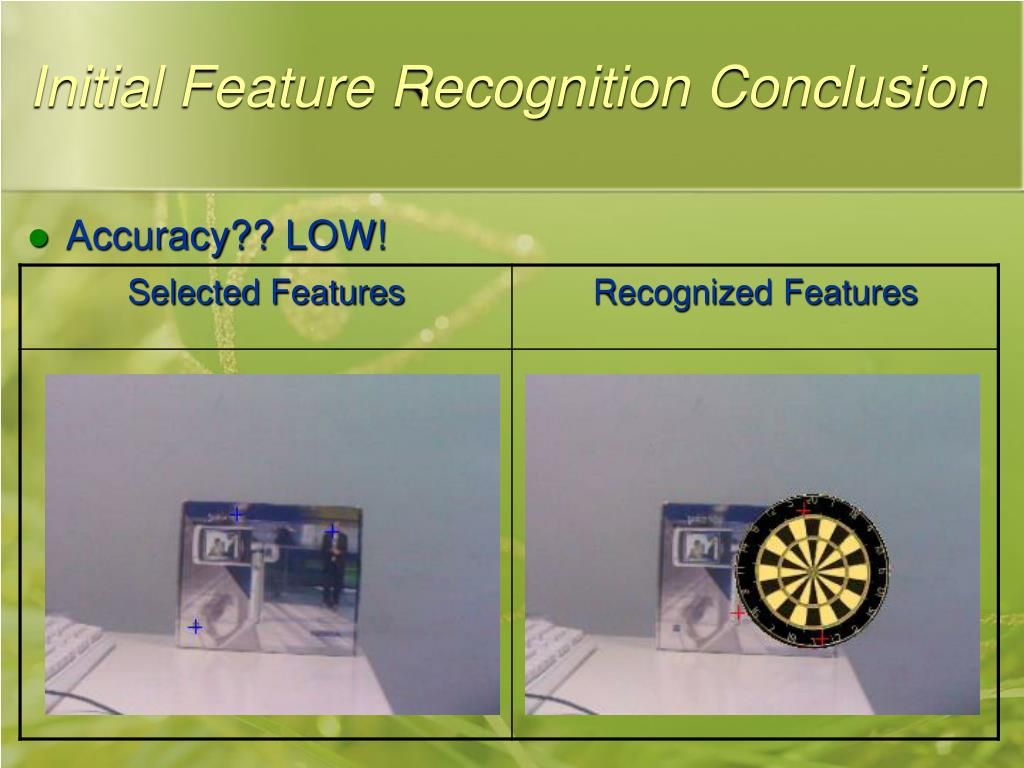 Initial Feature Recognition Conclusion