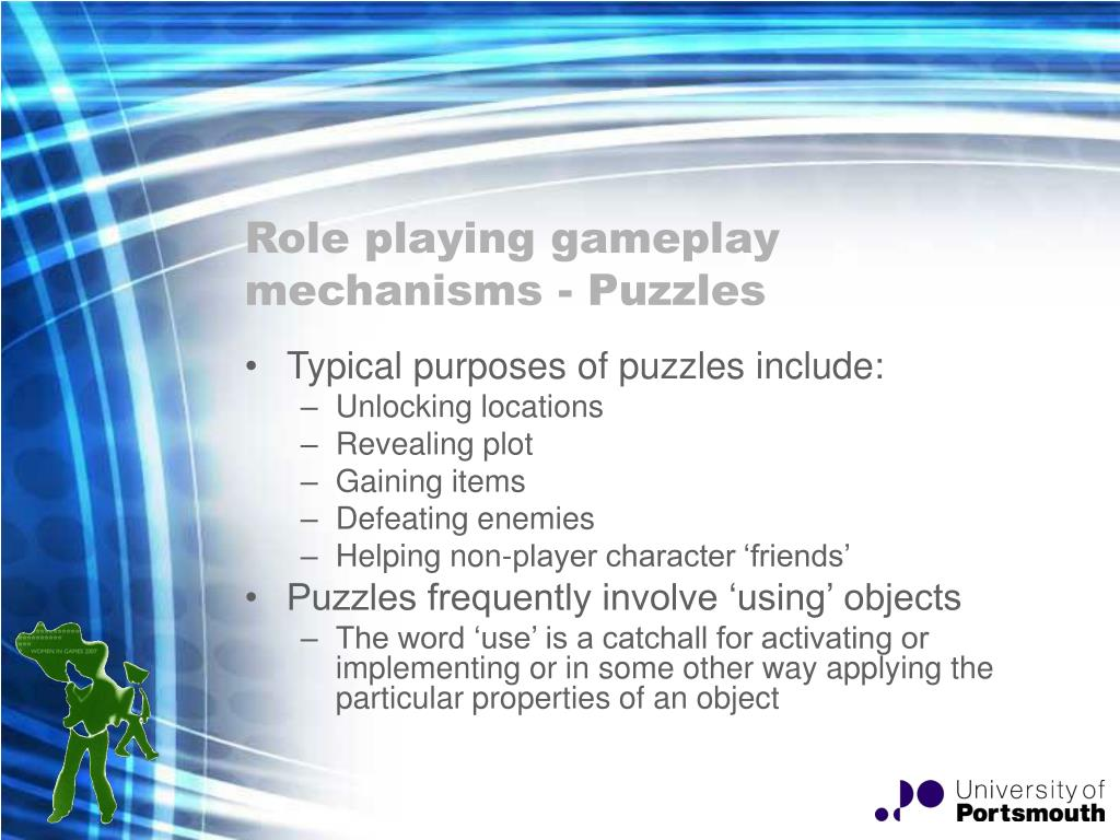 Role playing gameplay mechanisms - Puzzles