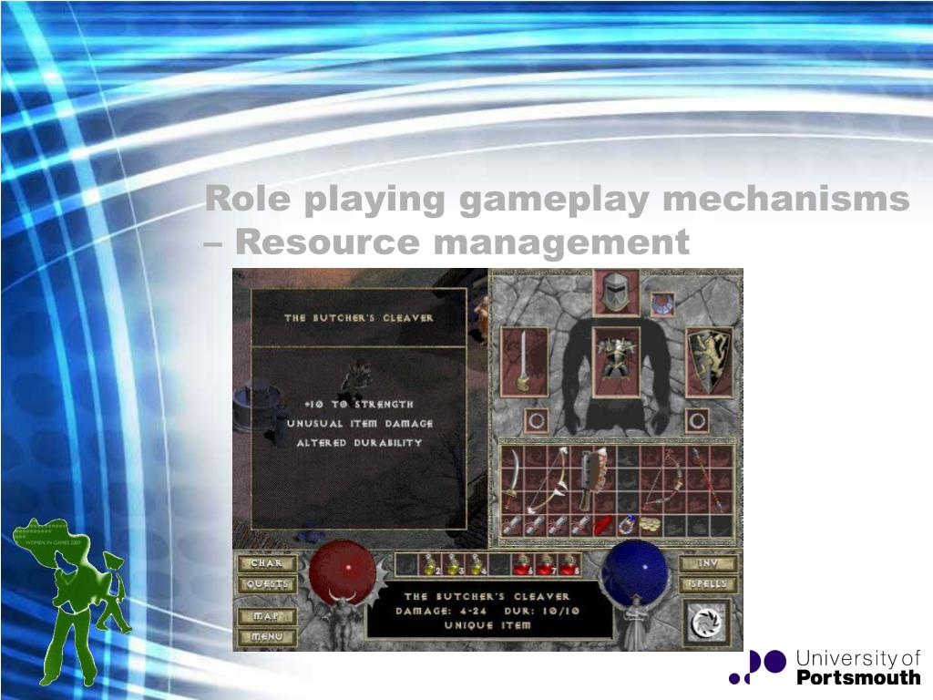 Role playing gameplay mechanisms – Resource management