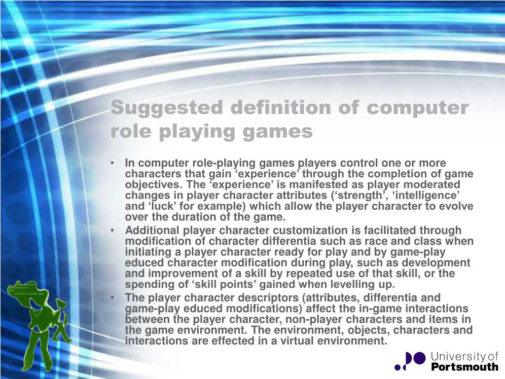Suggested definition of computer role playing games