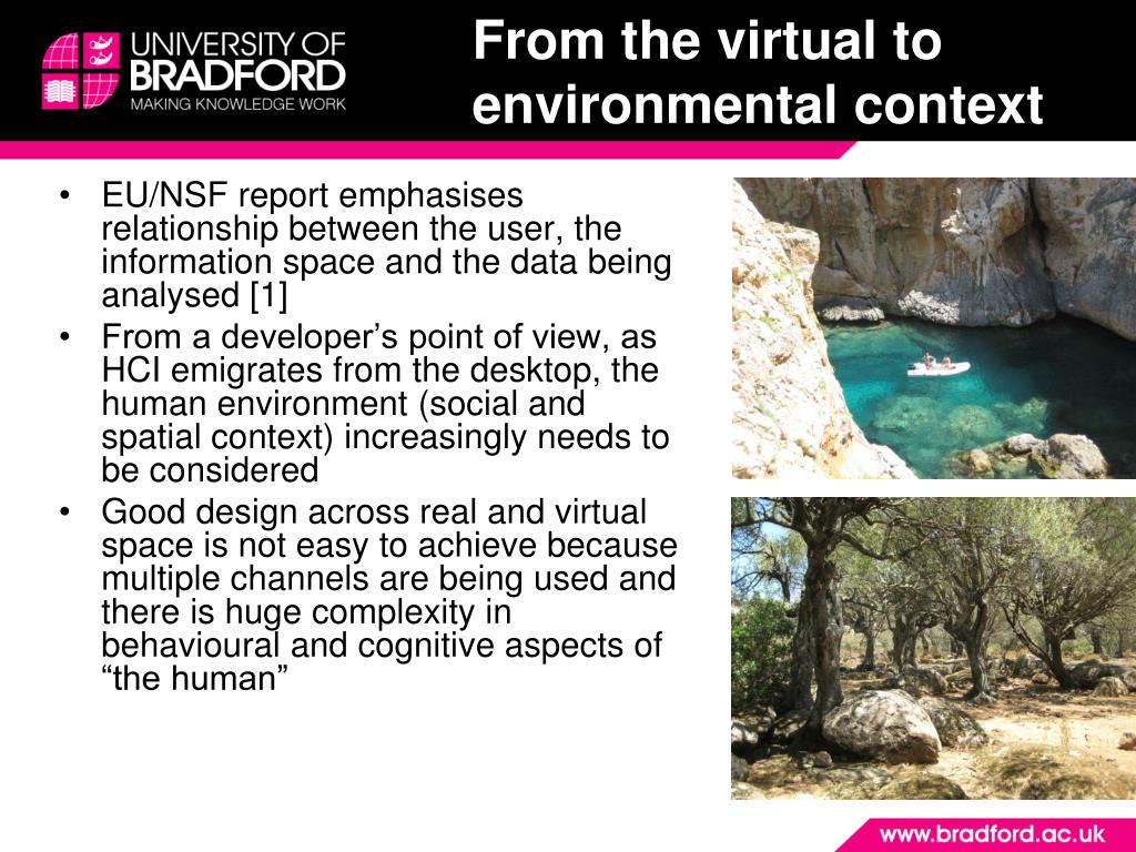 From the virtual to environmental context
