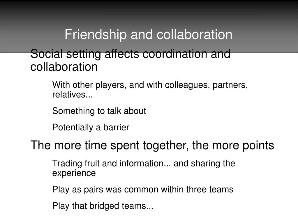 Friendship and collaboration